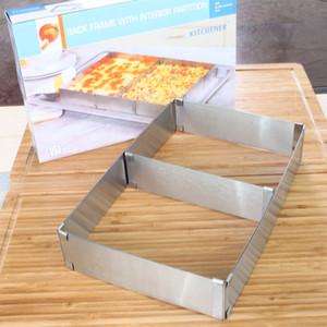1 قطعة الفولاذ المقاوم للصدأ مربع الشكل موس كعكة حلقة قابل للتعديل موس قالب الكعكة الخبز الملحقات LB 001