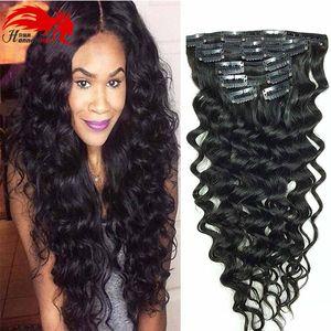 Афро-американский Hannah Clip в человеческом удлинении волос Полная голова Бразильские волосы Афро Глубокий куриный клип в удлинении черных бразильских волос