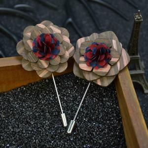 ретро дерево брошь цветок мужская деревянный лацкан длинные булавки бабочка короткие булавки костюм аксессуар вечерние свадебные броши высокое качество