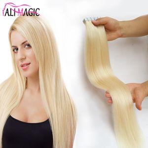 """2,5 g / pc 12 """"-26"""" Remy bande dans l'extension de cheveux humains Platinum Blonde # 60 transparente Ruban droit sur Salon de cheveux 40pcs"""