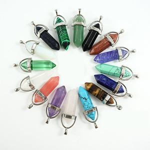 Charmes en vrac 6 côté Pendule Bullet Opale Tiger Eye Malachite Turquoise Jade Pierre Naturelle Pendentif Collier Quartz Crystal Healing Crystals