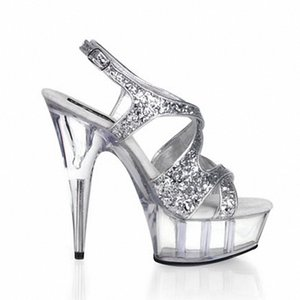 Customize Women Sexy 15cm High Heel Platform Sandals Open Toe Dance Shoes Crystal Transparent Thin Heels Sandals D0112