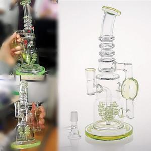 vert fluorescent Tubes de poche en verre Bongs eau Type droit grâce Thick base Smoking Pipes eau recycleur Bong en verre de narguilés