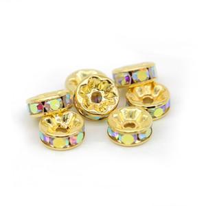 Altın Renk Kristal AB Rhinestone Boncuk 6mm 8mm 10mm 12mm Rondelle Spacer Boncuk 100 adet / paket Bilezik Takı Yapımı Için DIY, IA01-06