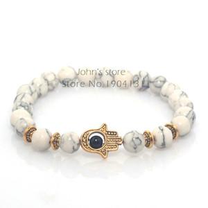 Gros-8mm blanc Turquoise pierre naturelle perles Fatima main Hamsa Stretch élastique Mens Bracelet