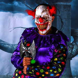 Scary Clown Latex Mask Big Mouth Red Hair Nariz Cosplay Full Face Horror Masquerade Adult Ghost Party Máscara para Halloween Props