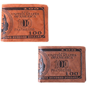 Heißer Verkauf 1 teil / los Männer Taschen Karte US Dollar Bill Geld Brieftasche Lustige Faltbare PU Dollar Brieftasche 2 Farben GI870627