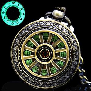 Toptan-Yeni Işıltılı El Sarma Mekanik Pocket Watch Klasik Bronz Ajur Kolye Erkekler için Vintage Hollow Kapak Analog Hediye