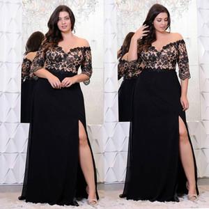 Черное кружево Платья выпускного вечера плюс размер с половиной рукава с плеча V-образным вырезом Сплит Вечерние платья A-Line Шифон Вечернее платье