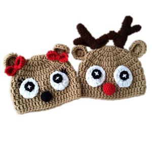Spedizione gratuita Handmade Crochet Baby Girl Boy Twin Renna Berretti, Rudolph Red Nose Moose Hat, Cappello di Natale per bambini Photo Prop