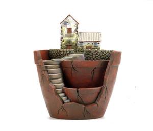 2PCS-PACK Creative Hanging Garden Résine Pot de fleurs pour Succulent Jardin des plantes Flowerpot Micro-paysage Décoration Saksi Planteur Zakka