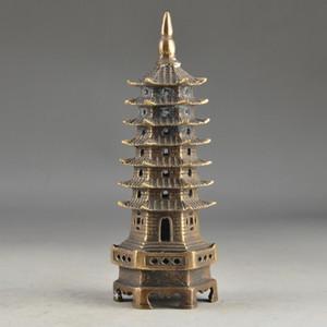 중국 황동 빈티지 Handwork 7 층 Exorcist 수집 타워를 망치로
