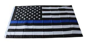4 Typen 90 * 150cm Blueline USA Polizei Flagge 3x5 Fuß Thin Blue Line USA Flagge Schwarz, Weiß und Blau amerikanische Flagge mit Messingösen