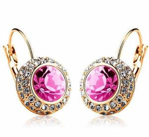 Cuelga los pendientes Aretes completa imitación de diamante 925 joyería de plata Pated Cristal Pendientes de tendencia de las mujeres Regalo de Navidad Señora