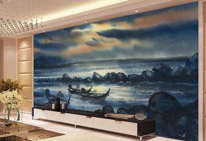 wallpaper Landschaft für Wände Custom 3d abstrakte Tapeten Vlies Abstrakte Handgemalte Tinte und Wash Ocean Boat Ölgemälde 3D Natur wal