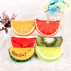 2017 100pcs Wholesale Fluff Fruit Coin Purses & Wallet Pouch Case Watermelon Orange BAG Bags Cartoon Handbag for children gifts
