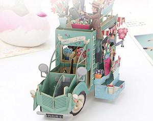 جديد رومانسية ورقة 3D الليزر يطفو على السطح بطاقات معايدة هدية عيد ميلاد اليدوية بطاقات بطاقات بريدية التمنيات 5014 زهرة زوجين آداب كرافت