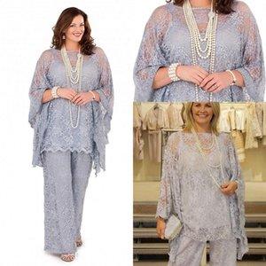 Tam Dantel anne Gelin Pantolon Takım Elbise 2017 Uzun Kollu Üç adet Gümüş Gri Örgün Kadın Artı Boyutu Damat Anne Elbiseler Düğün için