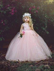 공주 분홍색 민소매 공 가운 Tulle Flower Girl Dresses 2017 새로운 귀여운 수제 꽃은 결혼식을 위해 여자 미인 대회를 후퇴시킨다