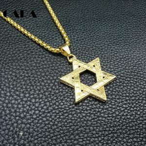 Collier Hip Hop Hommes de haute qualité à six pointes Juif étoile de David pendentif collier en acier inoxydable or 3mm 27 '' Rolo chaîne