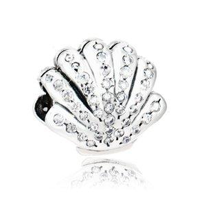 2016 Joyería de Moda Europea Pure 925 Sterling Silver Ariel Shell Charm Bead Con Clear CZ Diy Para Original Pandora Pulsera