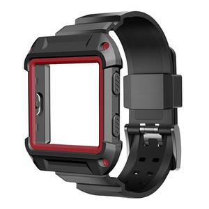 Fitbit Blaze 용 견고한 보호 케이스 블랙 실리콘 시계 밴드 안티 드롭 스트랩