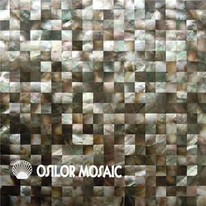 Preto shell mãe de pearl mosaic tile para interior casa decoração banheiro e cozinha telha da parede telha 15x15mm shell