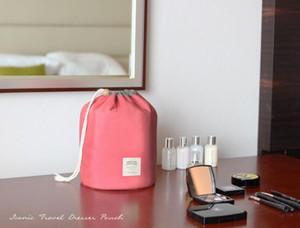 2017 New coréen élégant grande capacité en forme de tonneau en nylon de lavage organisateur de stockage voyage commode pochette cosmétique sac de maquillage pour les femmes