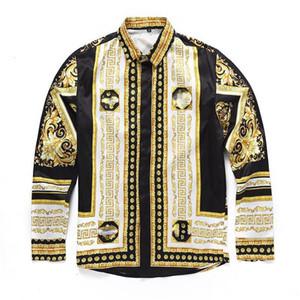 2019 style classique italien Medusa Shirt Of Pol Imprimé Floral Couleurs Luxe Casual Harajuku Shirt T-shirt À Manches Longues Pour Hommes Medusa Shirt