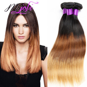 9A Ombre Color Three Tones Straight Brazilian Virgin Human Hair Unprocessed Hair Extension Weft Three Pcs T1b-4-27