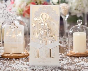 Творческие Свадебные Приглашения Персонализированные Полые Золото Красный Замок Свадьба Печатные Приглашения С Конверт С Печатью