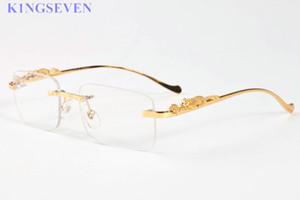 occhiali da sole di sport di modo per le donne gli uomini Vintage corno di bufalo vetri d'argento oro piedi in metallo gambe senza montatura degli occhiali da sole degli uomini di viaggio del tour Lunettes