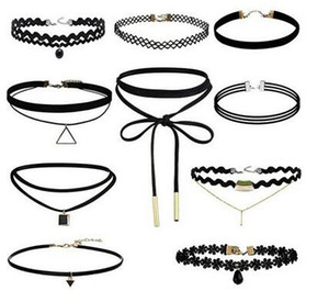 10 unids / lote hecho a mano Vintage Outus Flower Choker Collar Set Stretch Velvet Classic Gothic Tattoo Lace Choker Collares Envío Gratis