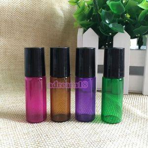 Роза Красный Синий Зеленый Фиолетовый 5мл Ролл на стеклянной бутылке с Glass Metal Roller Ball, многоразовая Glass Ролл на Флаконы для парфюмерии эфирное масло