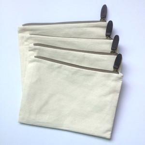 llanura de algodón de color crema natural compone el bolso a juego con la guarnición del color y el código postal de bronce genuina piel de vaca tirador de cuero para el bricolaje pintura / imprimir