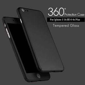 Ультратонкий 360 градусов чехол полный защиты тела жесткий ПК полное покрытие тела чехол с закаленным стеклом для iPhone 7 Plus 6 6 S 5 5S с пакетом