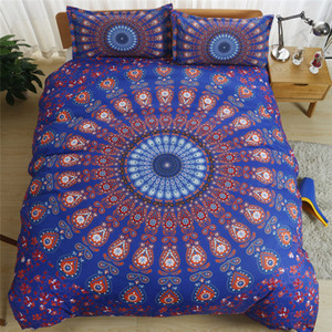 3pcs Bohemia Flowers Arts Design Bedding Set Jacquard Flower Duvet Cover Bed Linen Twin Full Queen King Size Bedclothes Bedspread