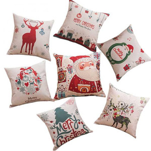 45X45cm Santa Claus Deer Series Linen Blend Pillowcase Cushion Fabric Home Sofa Christmas Decor Pillow Cover Hot Sale
