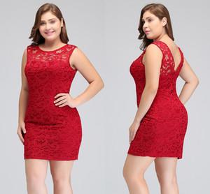 2018 courte dentelle rouge plus grande taille cocktail robes robes de gaine bijou décolleté sans manches Homecoming robes de robe Mini Prom Robe de soirée CPS628