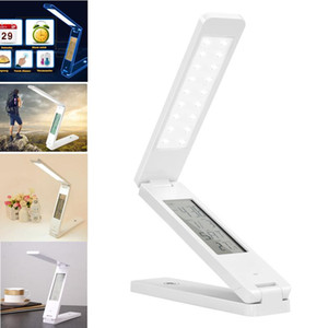 2017 Dimmable Protect Eyesight Study Foldable Reading Table Lamp Light Touch Control Calendar Alarm Clock Temperature Led Desk Lamps