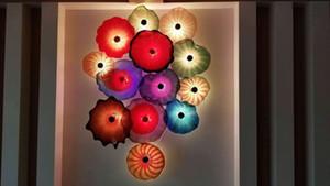 Flores sopladas a mano Lámparas de vestíbulo Placa de decoración Hecho a medida Murano Estilo de cristal Multicolor Placas colgantes Arte de la pared