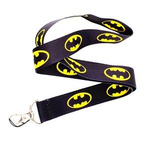 Heiß! 20 stücke Super Hero Batman Logo Gelb / Schwarz Hals Lanyards ID Karte Abzeichen Halter Schlüsselbund Hals schlüsselanhänger