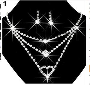 Sparkle Accessoires De Mariée Pour Femmes Strass Bling Bijoux De Mariée Haute Qualité Nacklace ans Boucle D'oreille pour Prom Party Wear