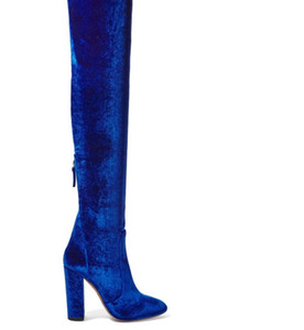 2017 spring autumn winter summer platform high heels blue red velvet boots for woman over the knee high Stretch boots long shoes