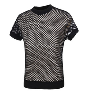Wholesale- Sales!New Fashion Sexy Men's Black Fishnet TopsTransparent Mens T-shirts Net Mesh Gay See-Thru Funny Shirt Undershirt