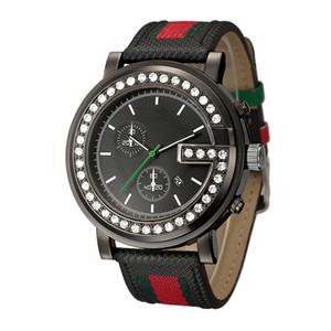 Big cadran style cristal montre-bracelet à quartz Bracelet en cuir de GU13 de Marque Mode Hommes
