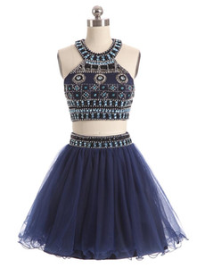 2017 neue Zwei Stücke Homecoming Kleider Jewel Neck Marineblau Tüll Kristall Perlen Kurze Mini Party Graduation Formal Plus Größe Cocktailkleider