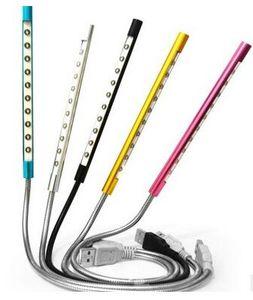 300pcs lot # 10LED Metal USB Super Bright Light Flexible Lamp for Notebook Laptop PC 10 LED Light Free Shipping 0001