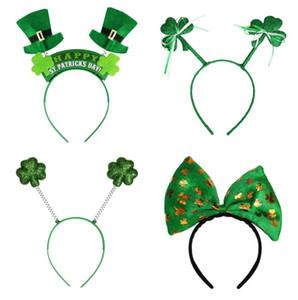 Irlandês St Patricks Dia Headband Verde Leprechaun hairband Shamrock Fivela Fancy Dress Carnaval acessórios de Natal festa top chapéus favor