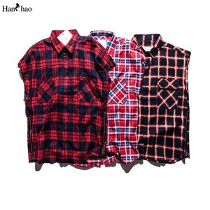 Atacado-Plaid Shirts Men mangas 2017 Streetwear flanela Side Zipper Mens shirt de Hip Hop T para homens